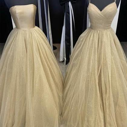 Champagne tulle long prom gown even..