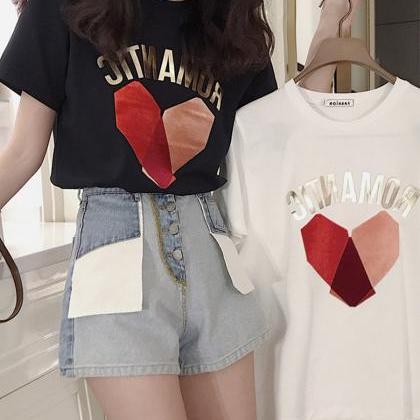 Cute heart short-sleeved T-shirt + ..