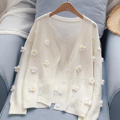 Cute flowers sweater long sleeve sw..