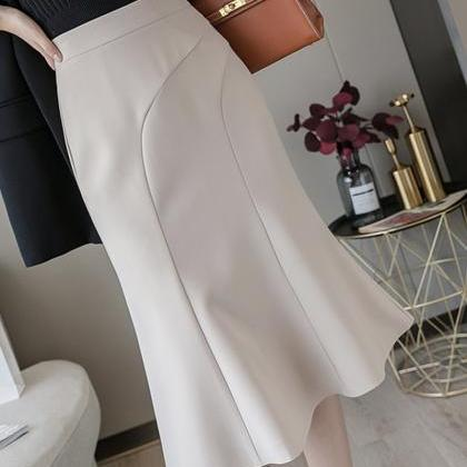 Elegant ruffle skirt wrap hip skirt