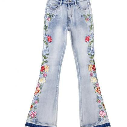 Flared jeans A line embroidery jean..