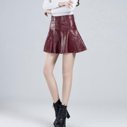 Stylish A line short skirt leather ..