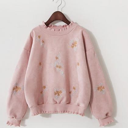 Cute embroidered long-sleeved T shi..