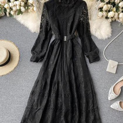 Elegant O-neck lace long sleeve dre..