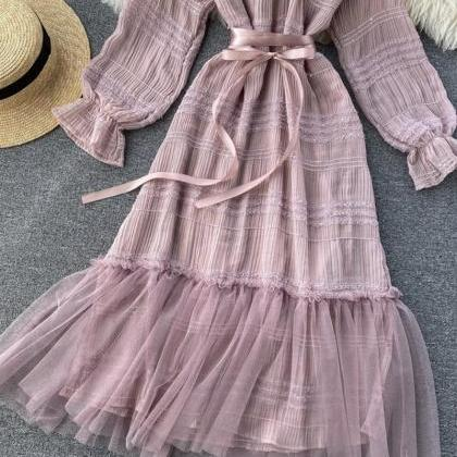 Unique tulle long sleeve dress fash..