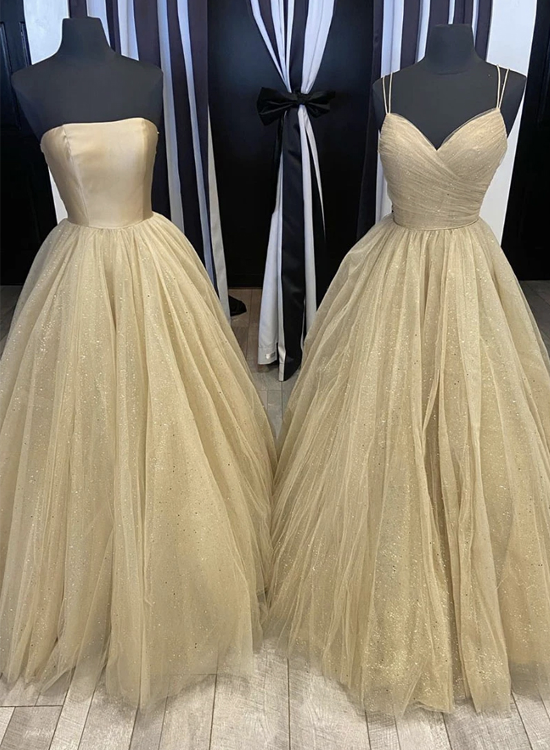 Champagne tulle long prom gown evening dress