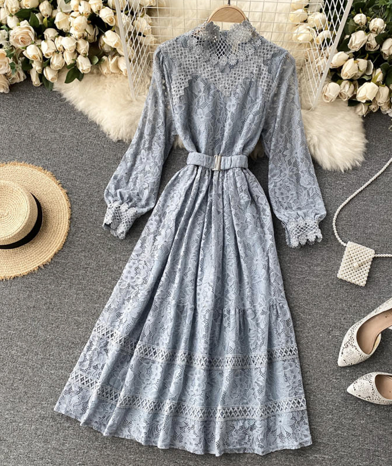 Elegant O-neck lace long sleeve dress