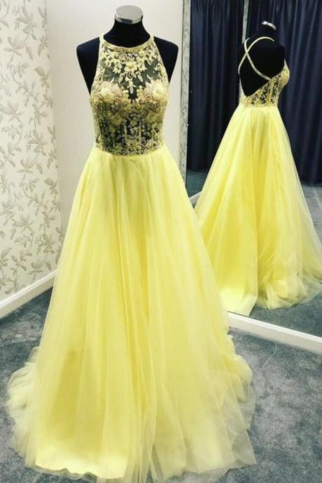 Yellow tulle lace long prom dress formal dress