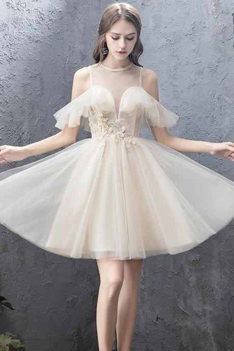 Champagne tulle lace short prom dress