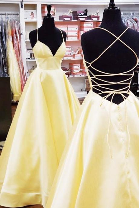 Simple satin long prom dress yellow evening dress