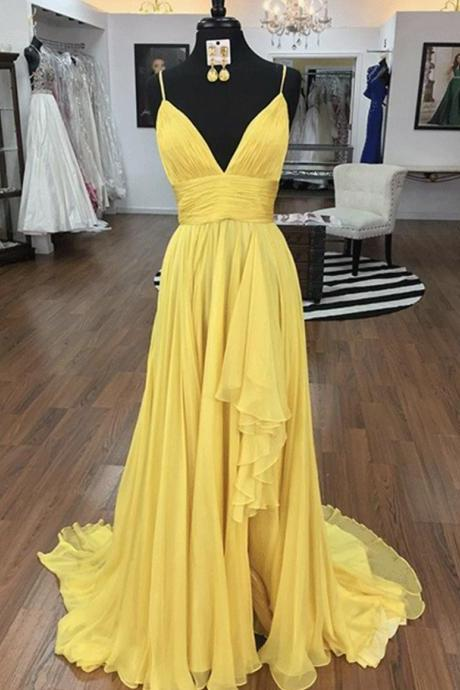 Yellow v neck chiffon long prom dress