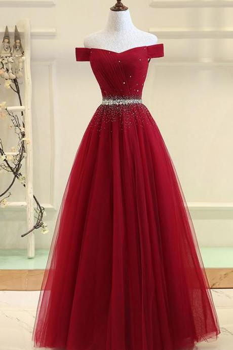 Burgundy tulle beads long prom dress formal dress