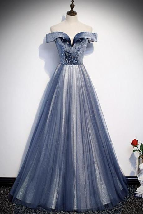 Blue velvet beads prom dress blue formal dress