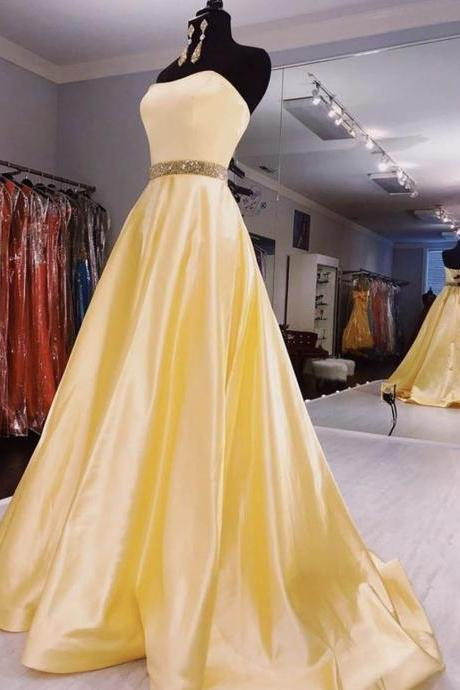 Yellow satin long prom dress evening dress