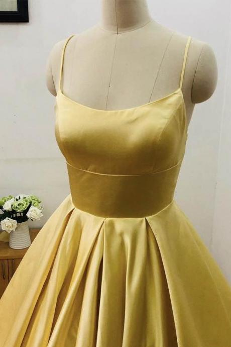 Yellow satin prom dress simple evening dress