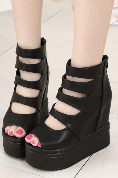 Black high heels black wedge heels