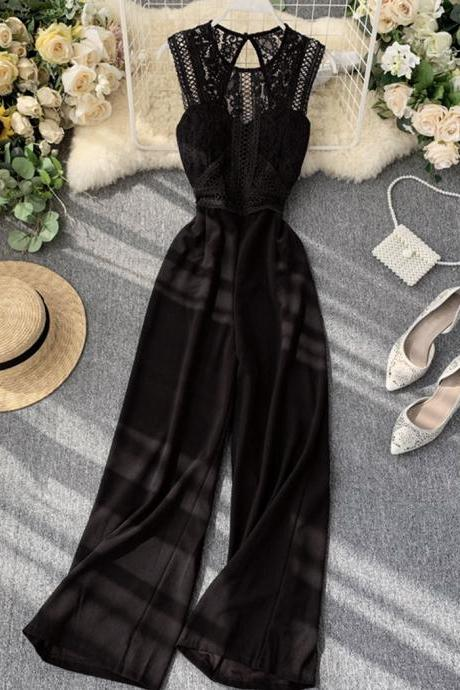 Stylish jumpsuit wide-leg pants lace jumpsuit wide-leg pants