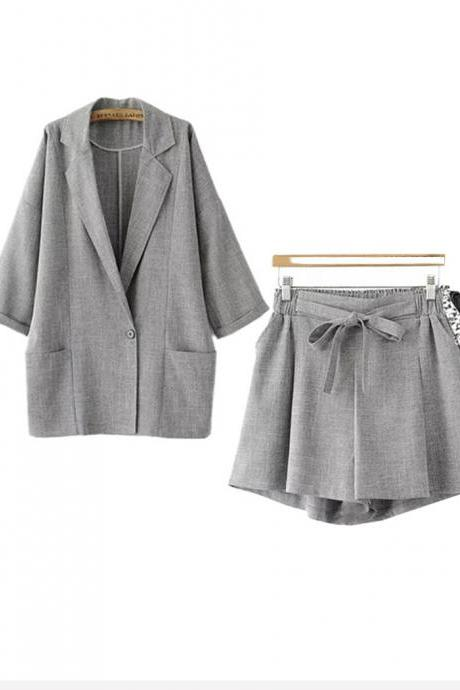 Fashionable cotton and linen two-piece suit