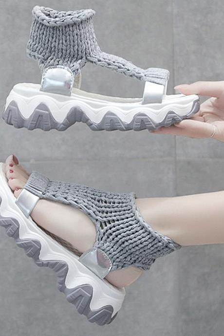 Cute handmade knitted sandals