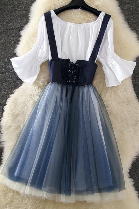 Summer denim tulle skirt suit