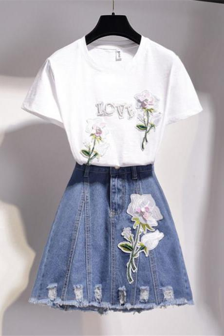 Two pieces set T- shirt + denim skirt