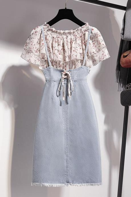 Two pieces set cute floral top + denim skirt