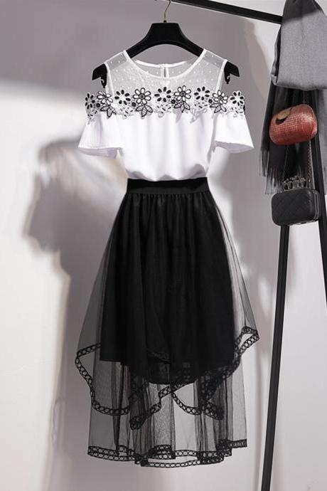 Two pieces set black applique tops + tulle skirt