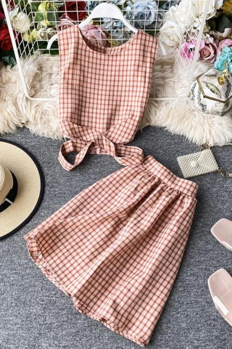 Summer leisure two-piece suit, plaid top + short skirt
