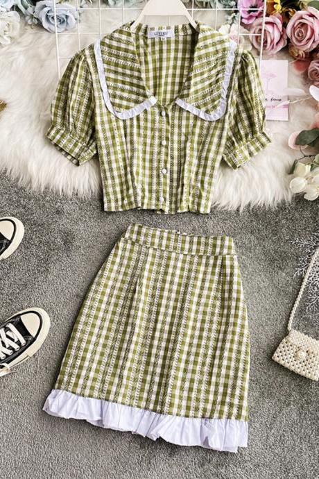 Lovely breathable plaid top + skirt