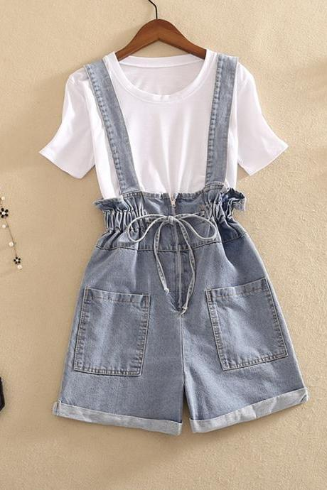 White short sleeve T-shirt denim strap shorts two piece set