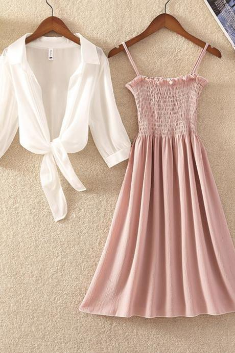 Fashion dress A line chiffon two pieces sets
