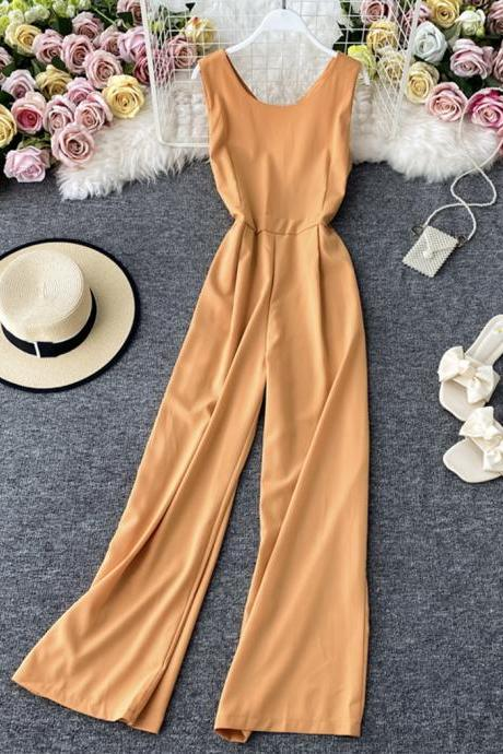Simple round neck jumpsuit fashion girl jumpsuit