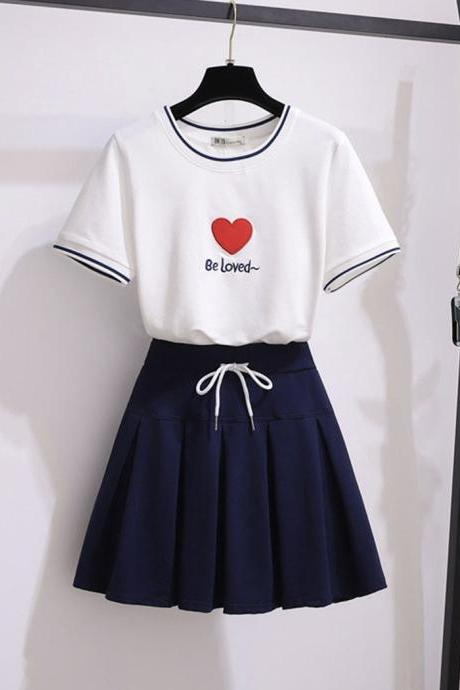 Cute T-shirt + short skirt two-piece suit