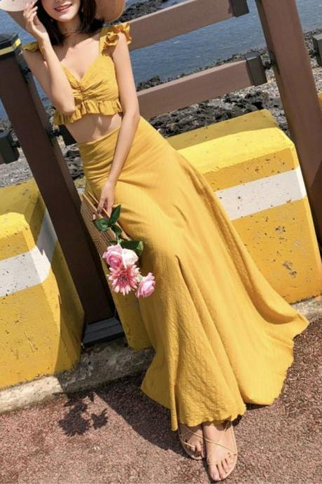 Cute yellow two pieces dress summer dress