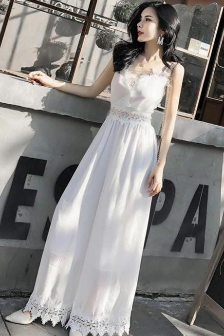 White chiffon lace jumpsuit women's fashion