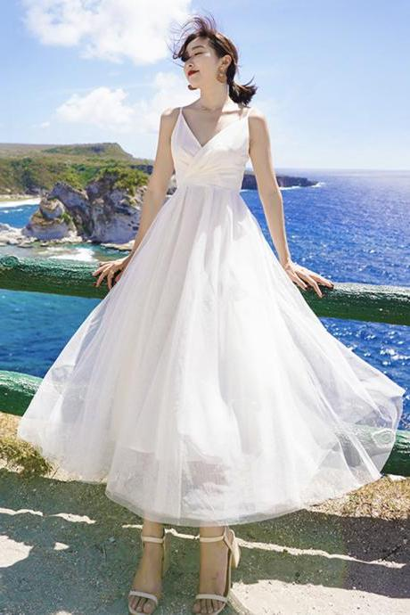 White A line tulle dress summer dress