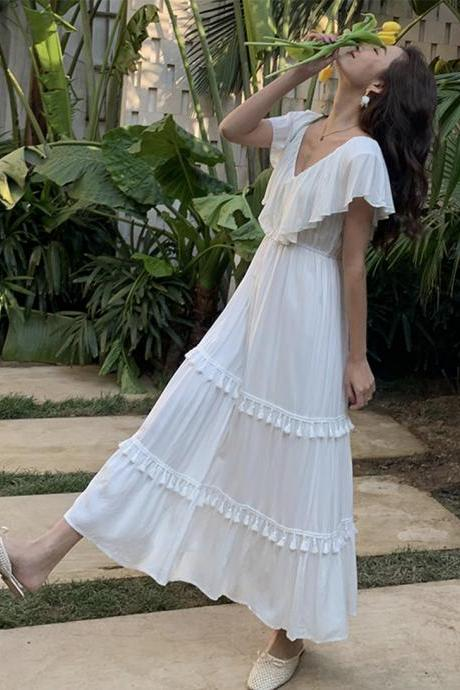 White v neck fringed dress fashion girl dress