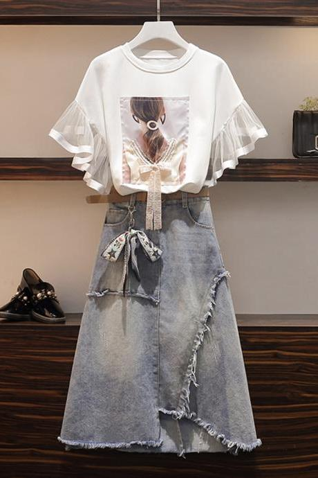 Fashion girl suit T-shirt+denim skirt