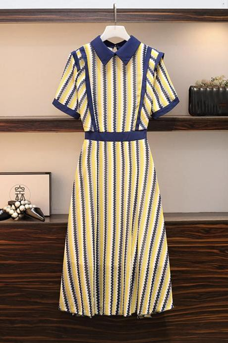 Stylish chiffon striped dress women's dress