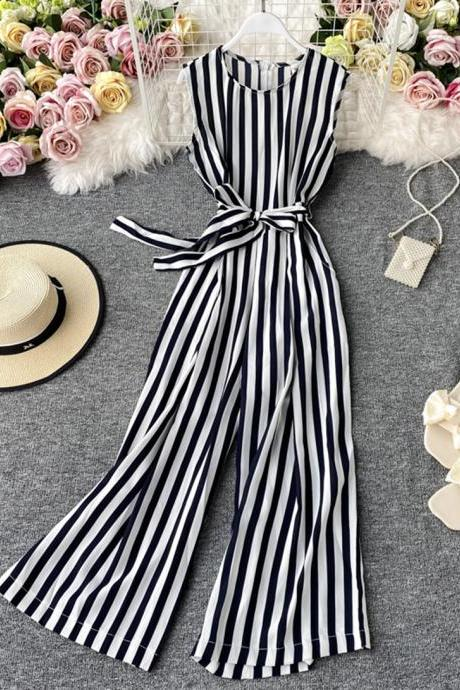 Simple striped jumpsuit wide leg jumpsuit