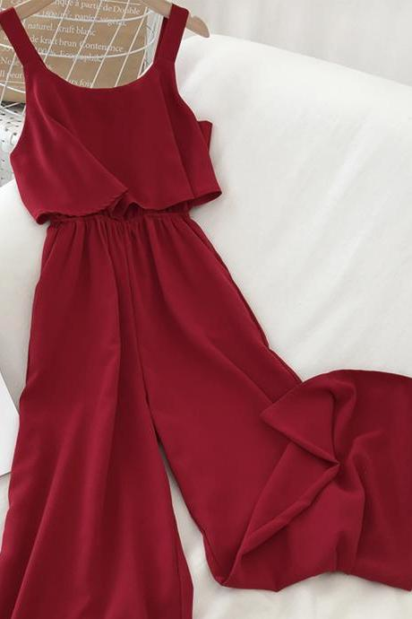Stylish chiffon wide leg jumpsuit women's jumpsuit