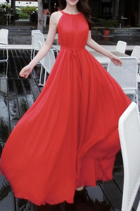 Red chiffon long dress women's dress