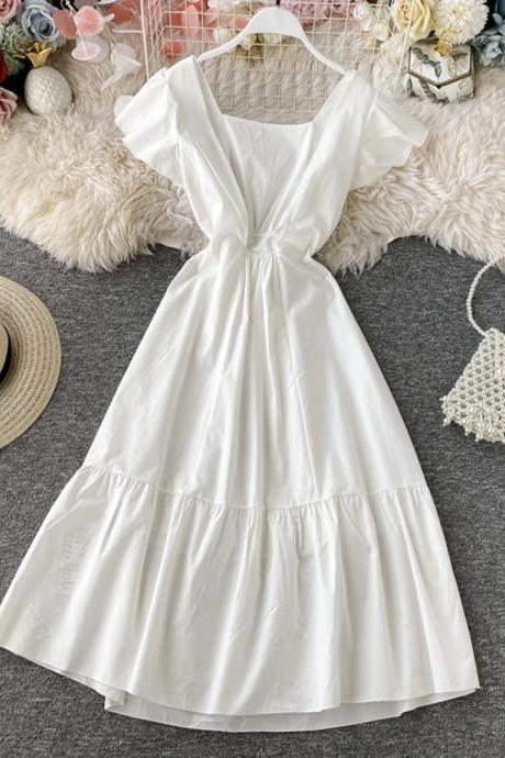 Lovely white short sleeve dress summer dress