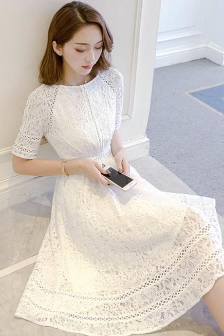 A line lace short dress summer dress