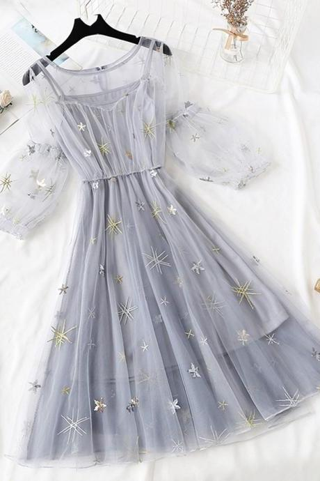 A line tulle short dress fashion girl dress women's summer dress