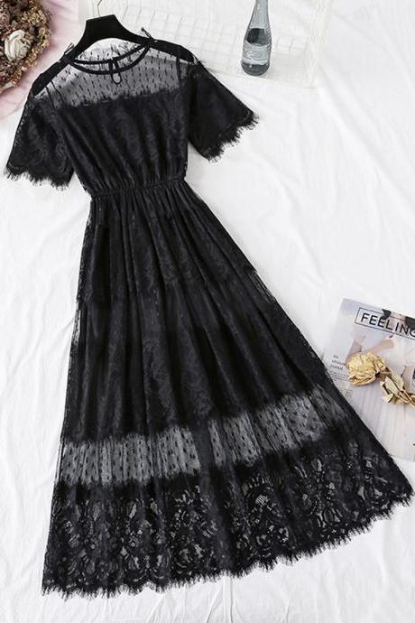 Black A line lace dress summer dress