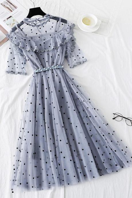 Cute polka dot short sleeve dress summer dress