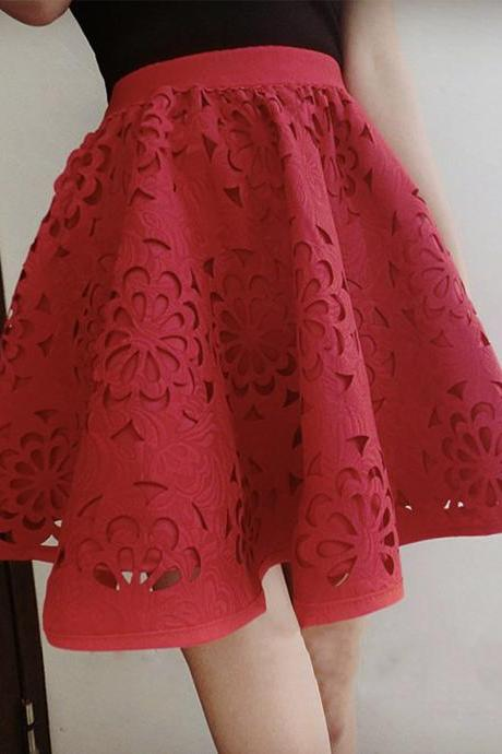 Cute A line skirt red/black skirt