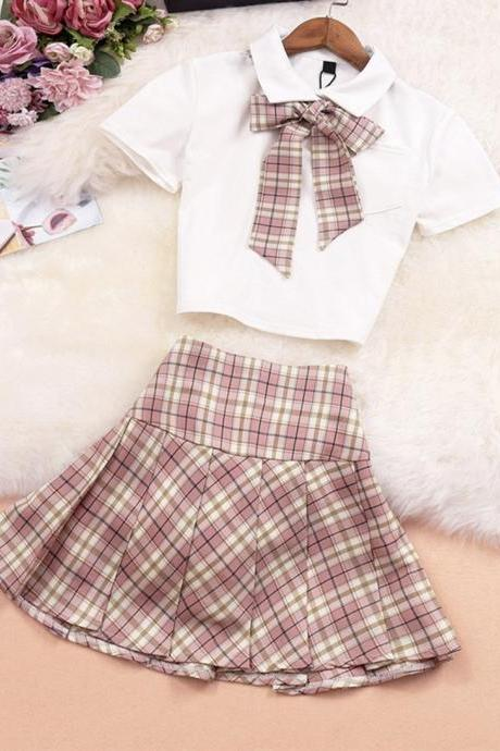 Two pieces short sleeve plaid dress sets