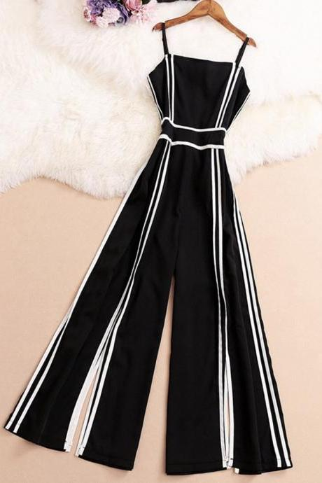 Fashionable black and white striped jumpsuit